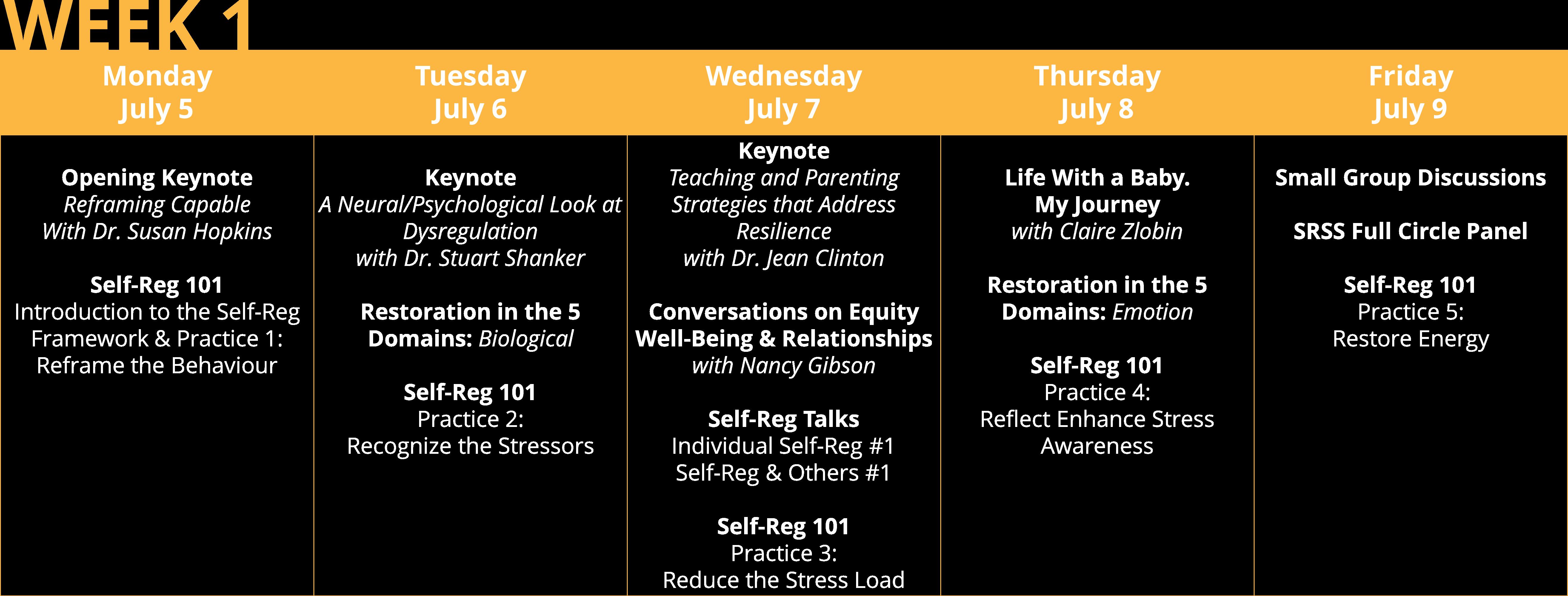 Self-Reg Summer Symposium Week 1 Program Snapshot
