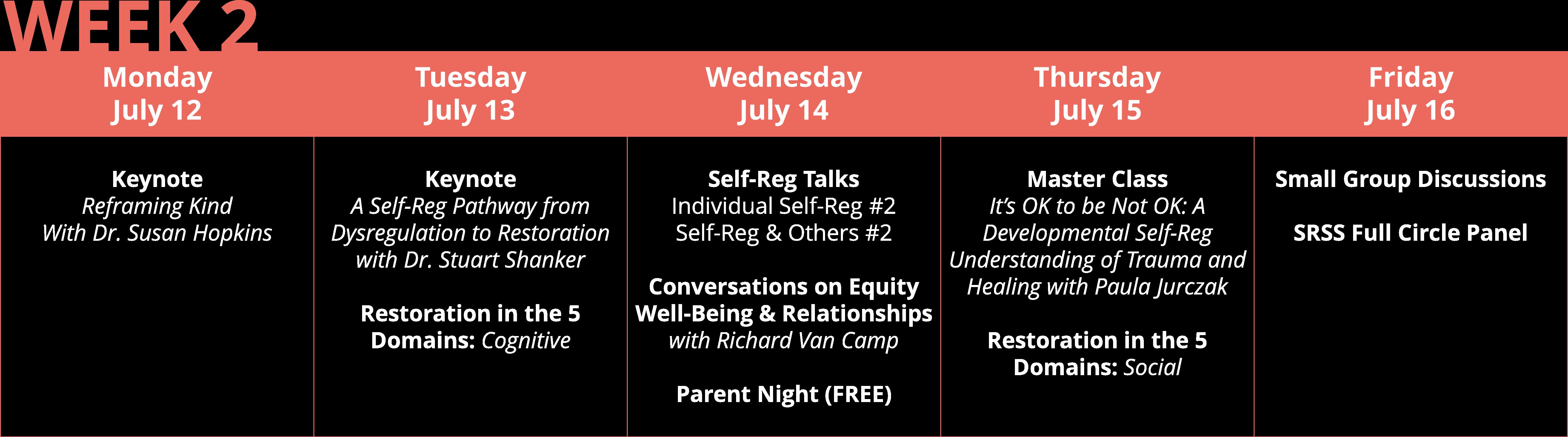 Self-Reg Summer Symposium Week 2 Program Snapshot